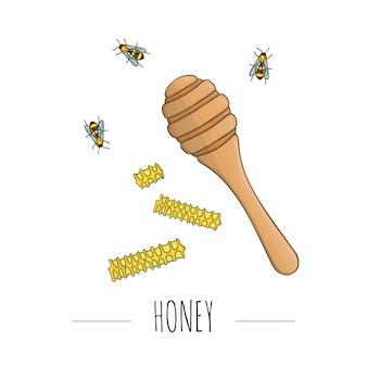 Illustration von honiglöffel, kämmen, bienen.
