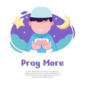 Illustration von jungen, die mehr während des monats ramadan beten