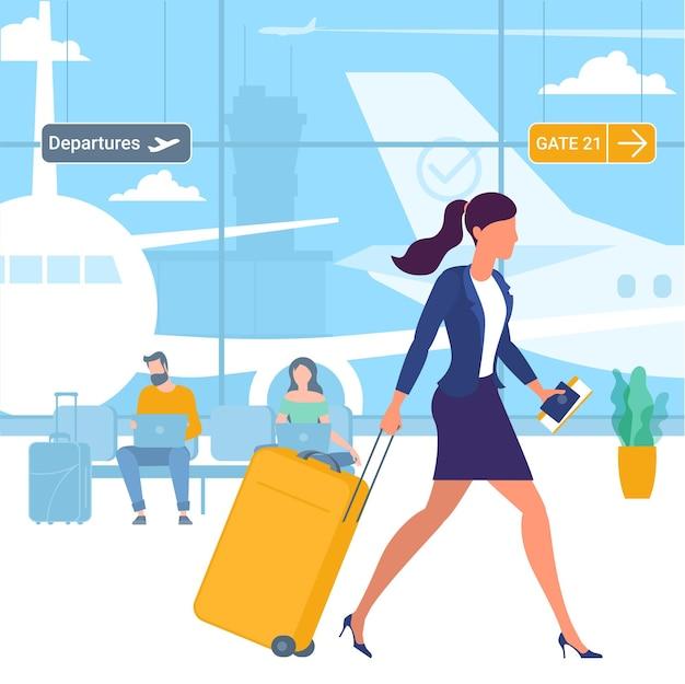 Illustration von jungen mann- und frauenreisenden am flughafenabflugbereich