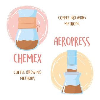 Illustration von kaffeebrühmethoden, chemex- und aeropress-prozessen