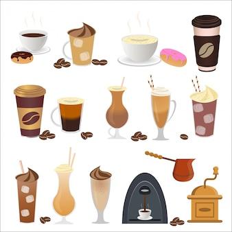 Illustration von kaffeesatzikonen im flachen stil.