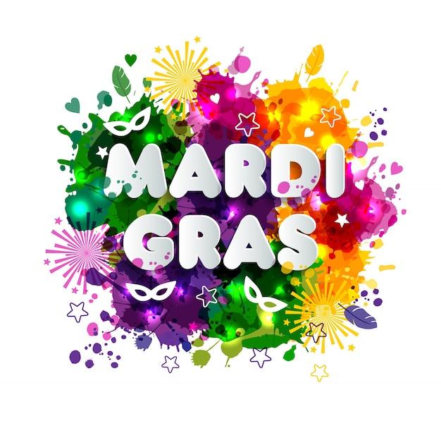 Illustration von karneval mardi gras auf aquarellflecken