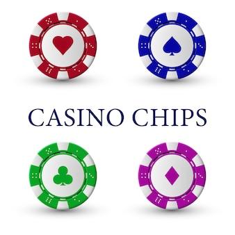 Illustration von kasino-chips auf weißem hintergrund.