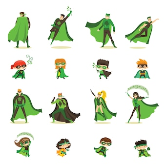 Illustration von kinder- und erwachsenen-öko-superhelden im lustigen comic-kostüm lokalisiert auf dem weißen hintergrund