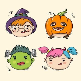 Illustration von kindergesichtern für halloween