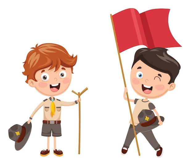 Illustration von kindern camping