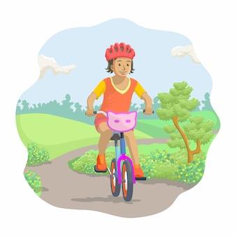 Illustration von kindern, die fahrrad fahren