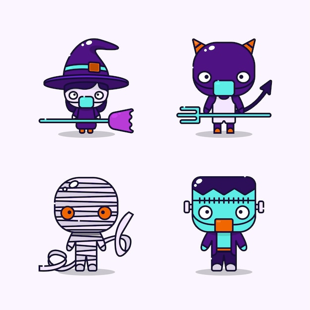 Illustration von kindern, die hexen-, teufels-, mumien- und frankensteinkostüme und medizinische schutzmaske im halloween-ereignis tragen