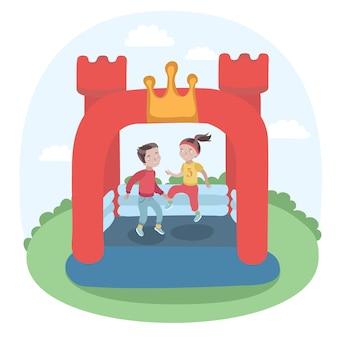 Illustration von kindern, die in buntem aufblasbarem trampolinschloss des kleinen lufttürmeisters auf der wiese springen