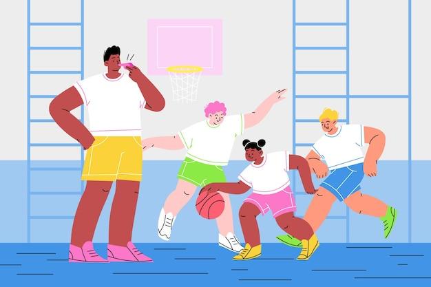 Illustration von kindern im sportunterricht