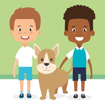 Illustration von kindern mit hundecharakteren