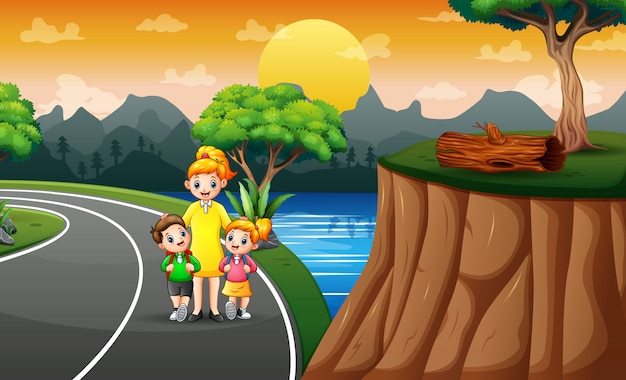 Illustration von kindern zu fuß zur schule