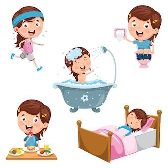 Illustration von kindertagesroutine-tätigkeiten