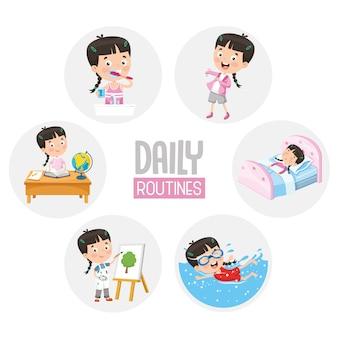Illustration von kindertagesroutinetätigkeiten