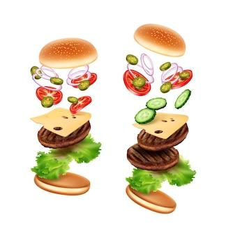 Illustration von klassischen und doppelten rindfleisch-burgern in der explosionsansicht