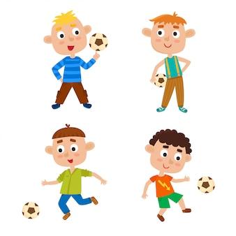 Illustration von kleinen jungen in trendigen kleidern, die fußball spielen. nette karikaturkinder mit fußball lokalisiert auf weißem hintergrund. hübsche fußballspieler. glückliche kinder. fußballmannschaft