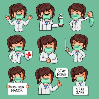 Illustration von lady doctor sticker set