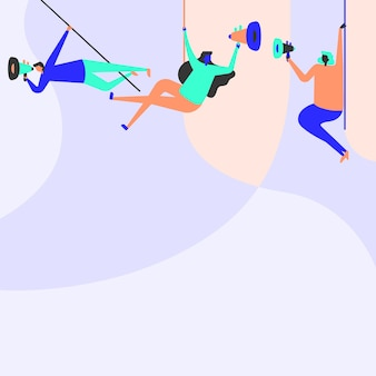 Illustration von leuten, die an der decke mit megaphonen hängen, die neue ankündigung machen. team-strichzeichnung, die oben mit megaphon schwingt, um späte werbung zu fördern.