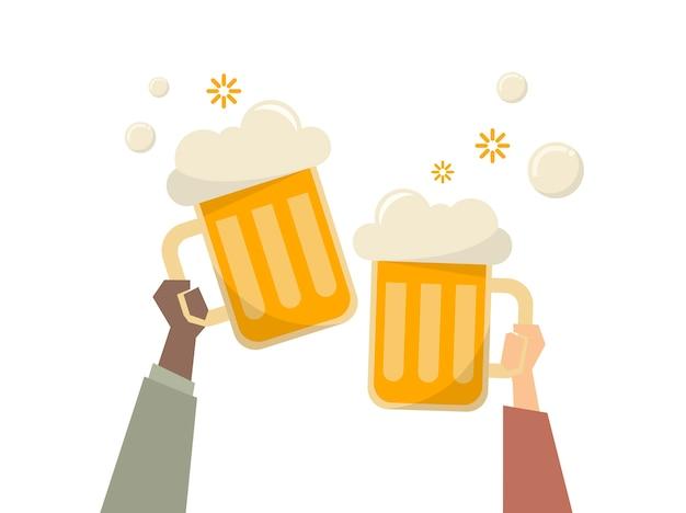 Illustration von leuten, die biere essen