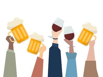 Illustration von Leuten, die eine Party haben