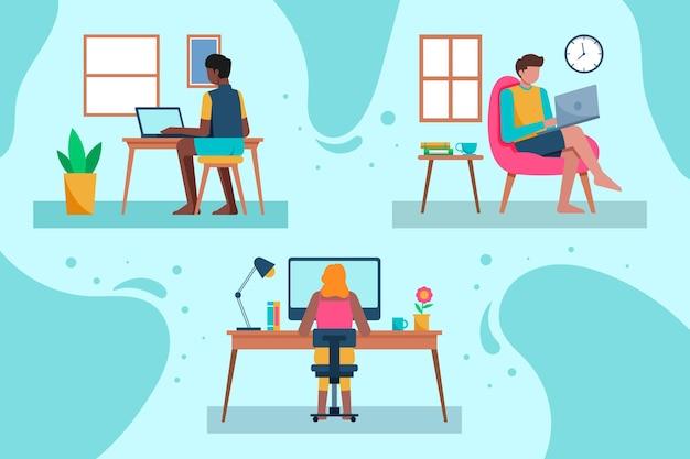 Illustration von leuten, die fern arbeiten