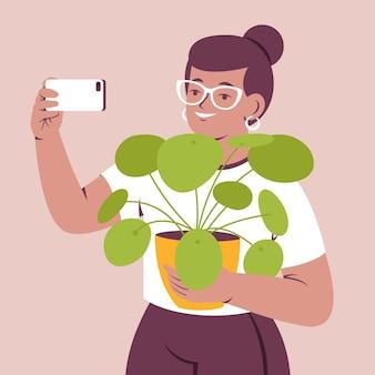 Illustration von leuten, die fotos mit smartphone machen