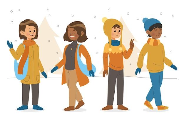 Illustration von leuten, die kuschelige kleidung tragen