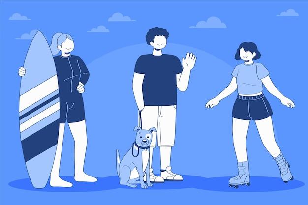 Illustration von leuten, die outdoor-aktivitäten machen