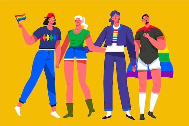 Illustration von leuten, die stolz tag feiern Kostenlosen Vektoren