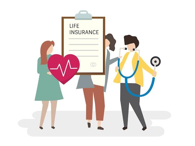 Illustration von leuten mit einer lebensversicherung
