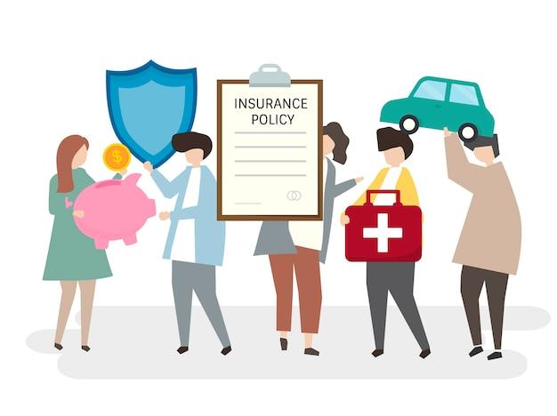 Illustration von leuten mit einer versicherungspolice