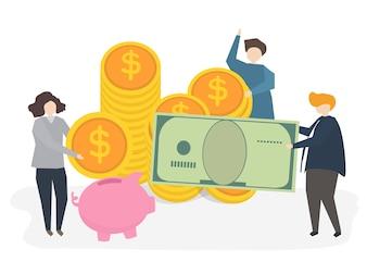 Illustration von Leuten mit Geld