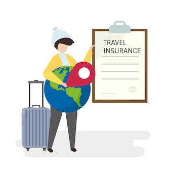 Illustration von leuten mit reiseversicherung