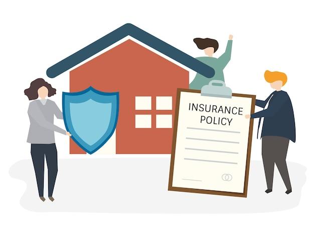 Illustration von leuten mit versicherungspolice