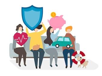 Illustration von Leuten mit Versicherungspolicen