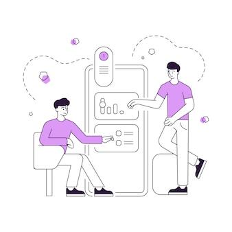 Illustration von linearen männlichen freunden, die einstellungen anpassen und verschiedene optionen in der online-anwendung auswählen, während sie das moderne smartphone zusammen verwenden