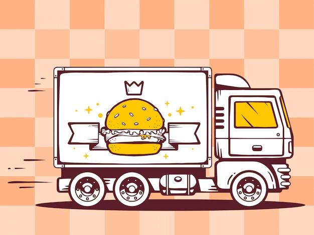 Illustration von lkw frei und schnell liefernder burger mit krone zum kunden auf musterhintergrund.