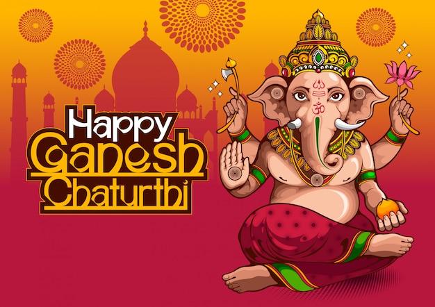 Illustration von lord ganesha von indien für traditionelles hinduistisches fest, ganesha chaturthi.
