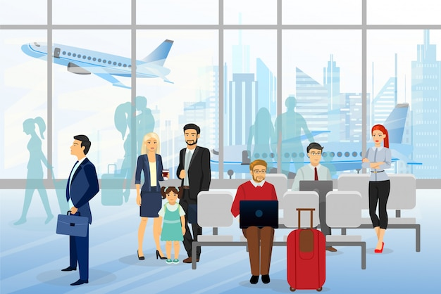 Illustration von männern und männern, kindern im flughafen, geschäftsleuten, die im flughafenterminal sitzen und gehen, geschäftsreisekonzept mit flugzeug auf hintergrund. flaches design.