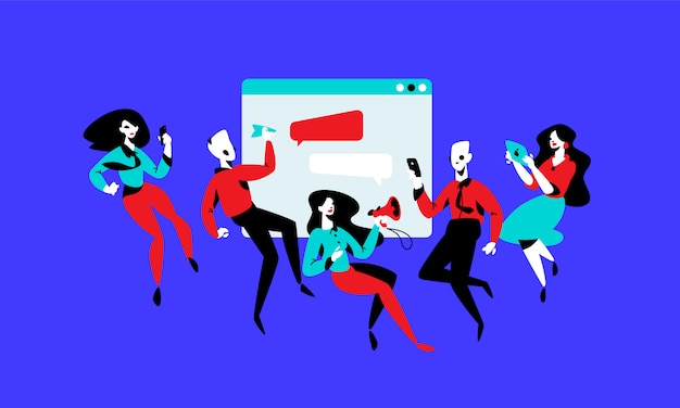 Illustration von managern auf dem hintergrund der schnittstelle