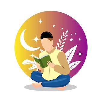 Illustration von mann und frau, die den heiligen koran in ihrer täglichen tätigkeit studieren und lesen
