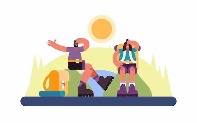 Illustration von mann und frau mit rucksäcken, die auf hügeln sitzen und schweiß vom kopf während reise durch hochland abwischen