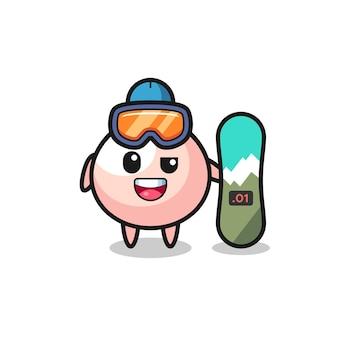 Illustration von meatbun-charakter mit snowboard-stil, süßem stildesign für t-shirt, aufkleber, logo-element
