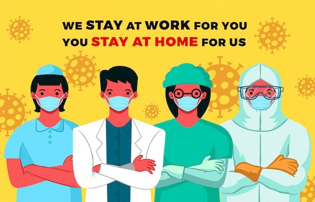 Illustration von medizinern, damit menschen zu hause bleiben