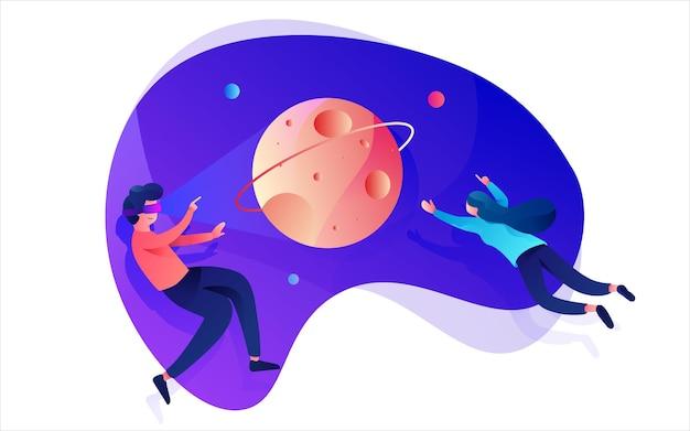 Illustration von menschen, die das universum in der virtuellen realität erforschen
