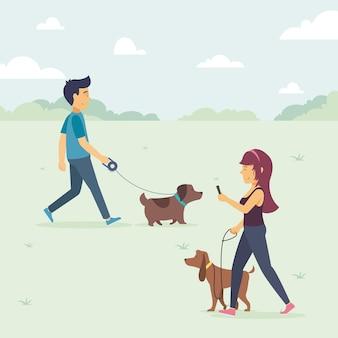 Illustration von menschen, die den hund gehen