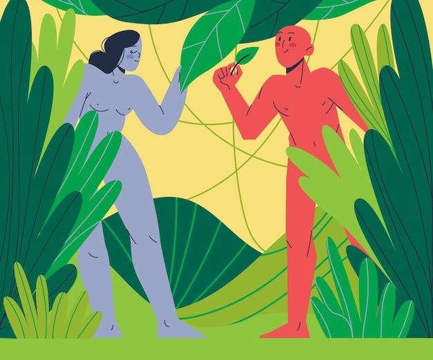 Illustration von menschen, die fkk praktizieren