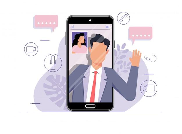 Illustration von menschen, die online über ein mobiltelefon mit video-chat-technologie sprechen