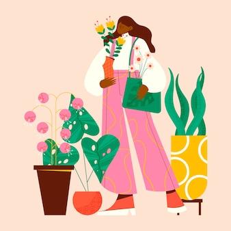 Illustration von menschen, die sich um pflanzen kümmern