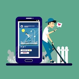 Illustration von menschen, die soziale medien nutzen